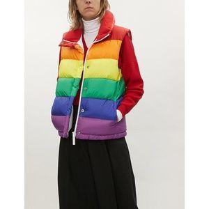 BURBERRY rainbow puffer jacket vest L